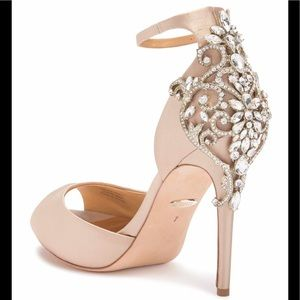 Karson Embellished Peep Toe Pump in Nude Satin